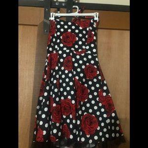 Sweetheart Polka Dot/Rose Halter Swing dress